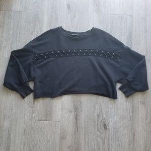 Zara Lace Up Crop Top Sweater